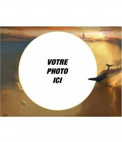 Cadre photo avec votre image dans une forme circulaire dans les nuages 
