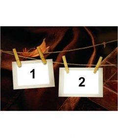 Photo montage de deux photos accroché sur une corde à linge avec des pinces