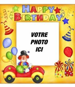 Carte postale Happy Birthday avec clown et ballons