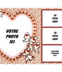 Amour collage avec quatre photos et un cœur comme image principale