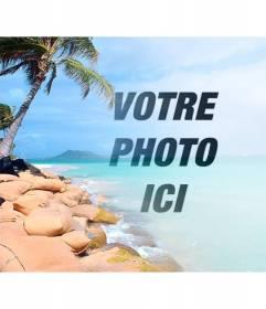 Collage avec une plage paradisiaque avec une eau bleue et de palmiers pour mettre votre photo et personnaliser avec du texte