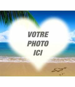 """Collage de mettre une photo en forme de coeur sur une photo d""""une plage"""