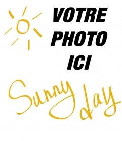 """Collage de forme carrée avec le soleil et le texte jaune qui dit: """"Sunny Day"""" à mettre sur vos photos"""