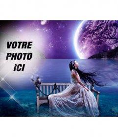 Créez un collage de fantaisie dans un paysage de rêve avec la lune et la mer en arrière-plan et une photo de vous fondre dans le ciel étoilé