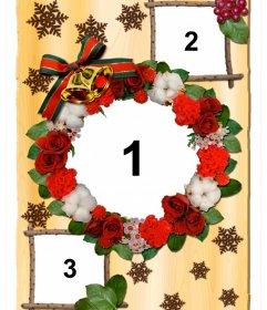 Collage de Noël avec des fleurs à personnaliser avec trois photos