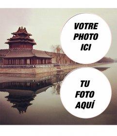 Collage pour deux photos avec un paysage de la Cité Interdite en Chine