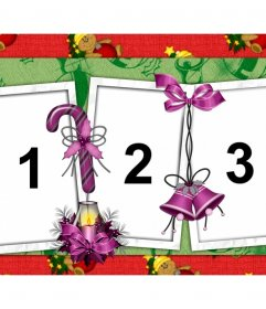 Collage de Noël à customiser avec trois photos