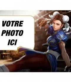 Collage avec Chun-li de Street Fighter coups de pied tout en regardant attentivement