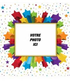 Rectangulaire cadre photo étoiles colorées, que vous pouvez utiliser pour votre photo de profil