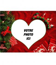Collage avec votre image en forme de coeur avec un fond de Noël