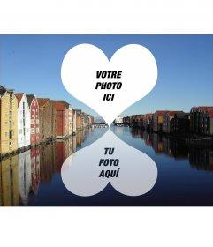 Carte postale pour deux photos de Trondheim