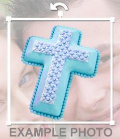 Autocollant chrétien dune croix bleue pour votre photo