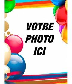 Cadre photo avec des ballons colorés