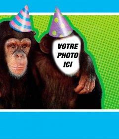 Photomontage avec un singe habillé avec chapeau de fête