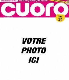 """Votre photo dans un cadre qui reproduit la couverture d""""un magazine tabloïd appelé Cuoro"""