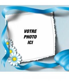 Cadre photo avec une cravate bleue et marguerites où vous pouvez cadrer votre image