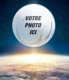 Montage du destin jeu avec votre image sur la lune