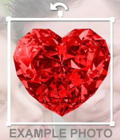 Photomontage de mettre en ligne un diamant en forme de coeur rouges sur vos photos