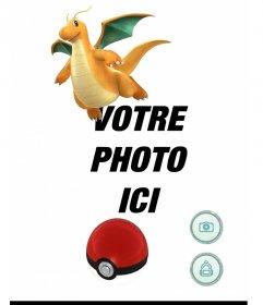 Effet photo avec Dragonite de Pokemon Go où vous pouvez ajouter une capture photo