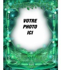 Cadre photo avec des papillons et vert émeraude fond