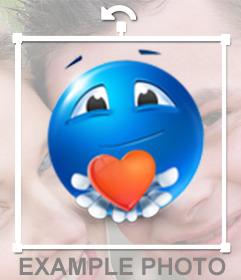 Bleu émoticône avec le coeur rouge