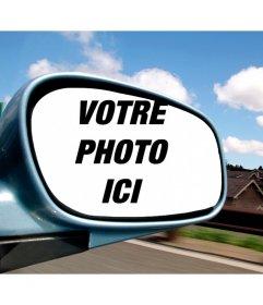 Photomontage avec votre photo dans un miroir de voiture
