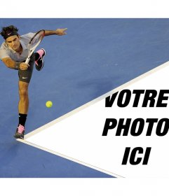 Photomontage avec Roger Federer et votre image sur le court de tennis