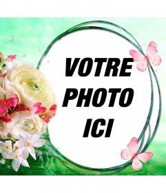 Composition avec des fleurs et des papillons sur un fond de brise de printemps pour mettre votre photo dans un cadre circulaire