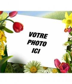 Cadre photo avec des dessins de fleurs et de plantes de printemps