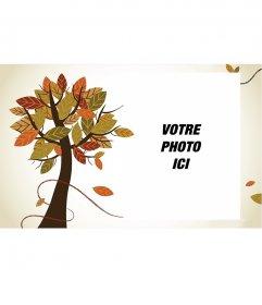 Automne cadre photo avec un arbre et blanc