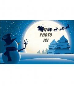 Carte de Noël avec un bonhomme de neige en agitant Santa