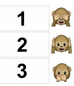 Collage de photos pour modifier et décorer avec le emoji des trois singes
