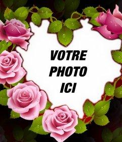 Cadre mignonne dun coeur de roses parfaits pour votre photo