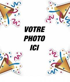 Cadre éditable pour célébrer avec des confettis et votre photo