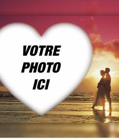 Effet romantique pour télécharger votre photo avec un couple dans un coucher de soleil