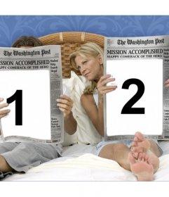 Effet photo vous pouvez mettre deux photos sur les pages de deux journaux
