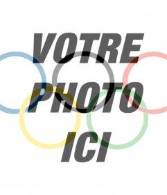 Drapeau avec le symbole des Jeux olympiques comme un filtre pour mettre dans votre photo de photomontages en ligne pour ajouter le drapeau des Jeux Olympiques dans vos photos comme un filtre et gratuit. effet idéal pour votre photo de profil et de partager sur vos réseaux sociaux pour profiter des Jeux Olympiques