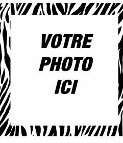 Cadre photo éditable avec la conception de zèbre pour décorer vos photos