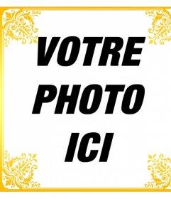 Cadre élégant pour votre photo avec des fleurs ornement et la couleur de lor