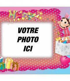 Cadre photo avec décoration de fête danniversaire pour éditer gratuitement Modifier