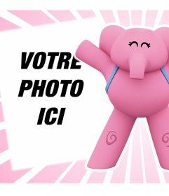 Effet en ligne avec léléphant Elly de Pocoyo parfait pour télécharger votre photo