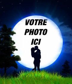 Amour effet photo dun couple et de la lune