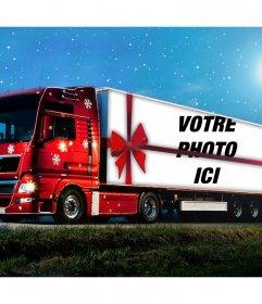 Effet photo dun camion de Noël de télécharger une photo