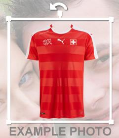 Collez le maillot de léquipe de football Suisse sur vos photos pour effet