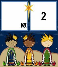Carte de Noël pour célébrer la journée des Mages avec deux photos