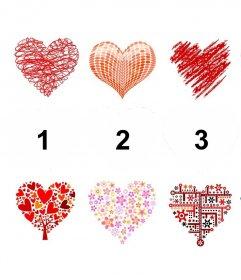Collage éditable avec des coeurs pour décorer quatre photos