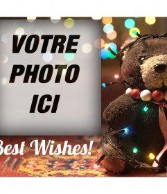 Effet photo dun ours avec des lumières de Noël pour votre photo