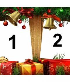 Ajouter deux photos pour ce collage de Noël avec Noël en ligne leffet de photo de dons par des dons et des cloches de télécharger deux photos. Célébrez Noël avec ce collage libre