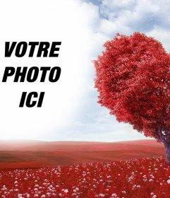 Effet photo dun paysage avec Mignon effet dun paysage avec un arbre en forme de coeur rouge de photo dun arbre de coeur de mettre votre photo et dexprimer votre amour avec cet effet