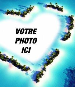 Effet photo dun paysage avec un cœur télécharger votre photo